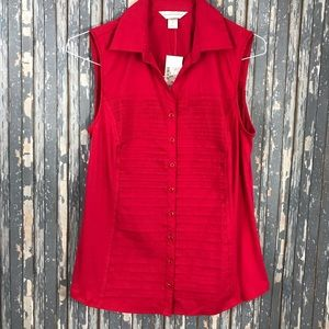 CHRISTOPHER & BANKS Medium Sleeveless Red Button
